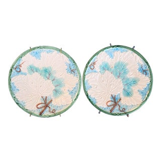Vintage Bordeaux by Shafford Majolica Plates With Grape Leaves - a Pair For Sale