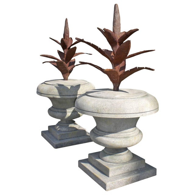 Late 20th Century Agave in Limestone Finial Urns - a Pair For Sale