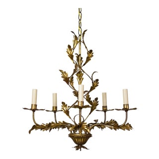 Italian Five Light Gold Leaf Chandelier For Sale