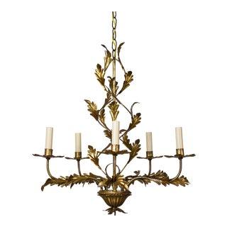 Italian Five Light Gold Leaf Chandelier For Sale