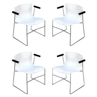 1980s Vintage Massimo Vignelli for Knoll Handkerchief Armchairs- Set of 4 For Sale