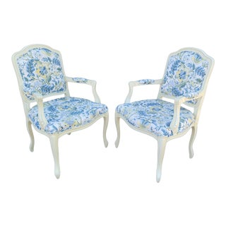 1970s French Provincial Style White Lacquer Armchairs - a Pair For Sale