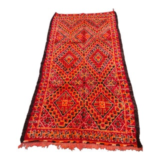 1980s Red Berber Moroccan Rug For Sale
