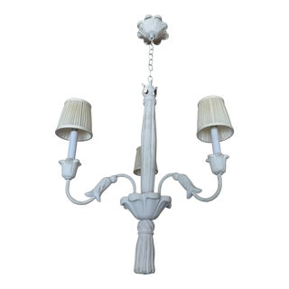 1940s French Plaster Three-Arm Chandelier in the Style of Serge Roche For Sale