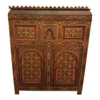 Modern Moroccan Hand Painted Wooden Cabinet For Sale