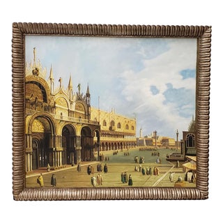 Vintage St. Marks Square Venetian Oil Painting For Sale