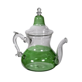 Moroccan Green Glass Teapot For Sale