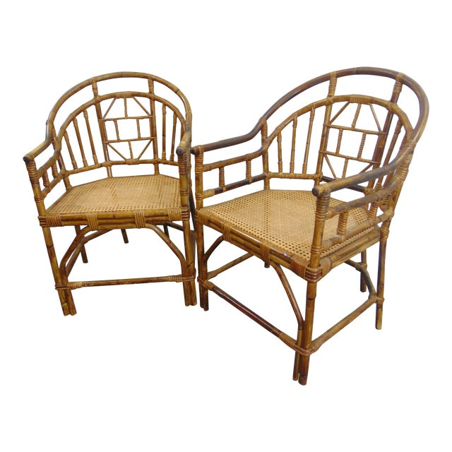 Mid Century Chinoiserie Bamboo Chairs - a Pair For Sale