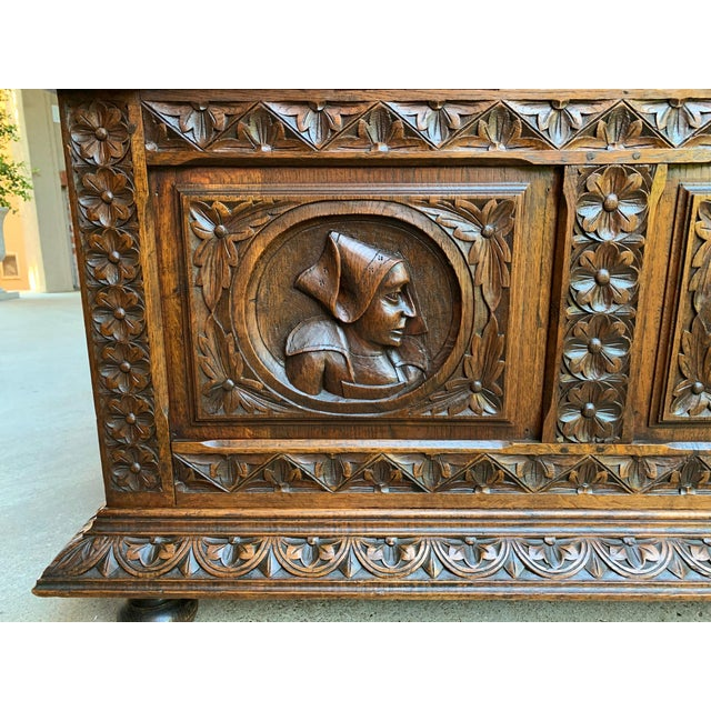 19th Century French Carved Oak Hall Bench Breton Brittany Pew Banquette For Sale - Image 10 of 13