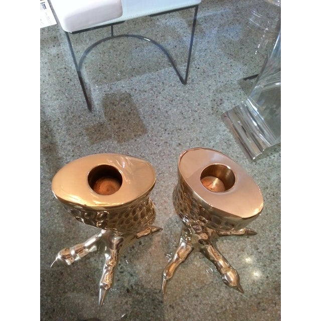 Gold Brass Eagle Talon Candlesticks 1960s Italy - a Pair For Sale - Image 8 of 11