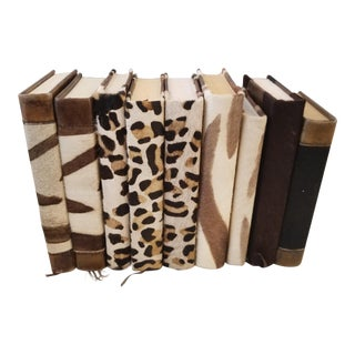 Hide & Leather Bound Thick Books - Set of 9