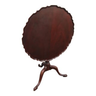 Tilt Top Solid Mahogany Carved Pie Crust Tea Breakfast Center Table For Sale