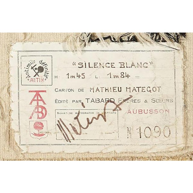 """Mathieu Matégot (Hungary, 1910 - 2001). Silence Blanc Signed """"Metégot"""" and numbered """"1/6"""" Wool tapestry handwoven by..."""