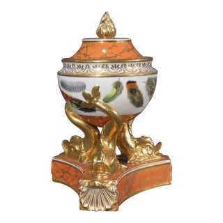 18th C Chamberlain Worcester Porcelain Potpourri Covered Urn Bowl - Dolphin Base For Sale