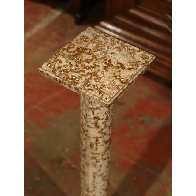 French 19th Century French Red and Beige Marble Pedestal Column With Square Swivel Top For Sale - Image 3 of 8