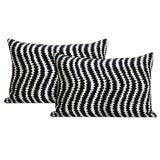 """Image of 12"""" X 18"""" Ziggy Velvet Noir Lumbar Pillows - a Pair For Sale"""