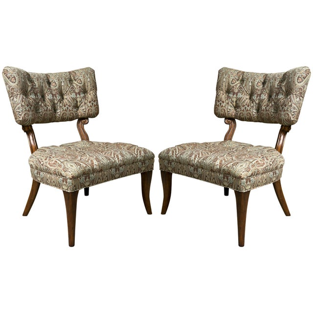 Kravet James Mont Style Lounge Chairs - Pair - Image 1 of 5