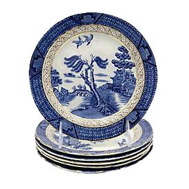 English Willow Side Plates - Set of 6 For Sale