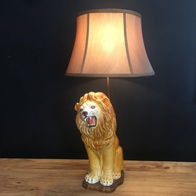 Large Italian Hand-Painted Porcelain Lion Sculpture Mounted Lamp For Sale - Image 11 of 12