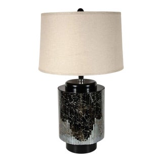 PLEASE UPDATE DIMENSIONS Mid-Centuy Modernist Reverse Eglomisé Mirrored Table Lamp with Chrome Fittings For Sale