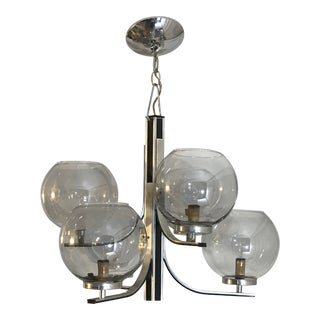 Mid-Century Modern Lightolier 6 Smoked Glass Globe Chrome Chandelier Fixture For Sale