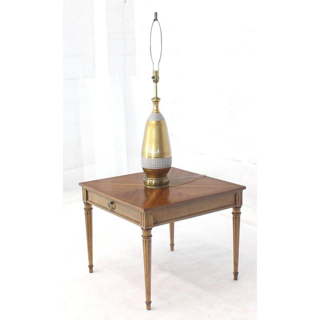 1960s Mid-Century Modern Baker Square Satinwood Side Lamp Table For Sale - Image 9 of 11