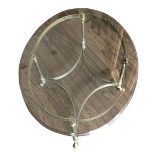La Barge Oval Brass and Glass Coffee Table For Sale