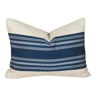 Blue and White Japanese Silk Kaku Obi Pillow Cover For Sale