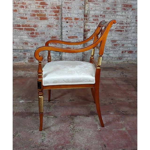1990s Vintage Baker Painted Regency Arm Chairs -Set of 4 For Sale In Los Angeles - Image 6 of 12