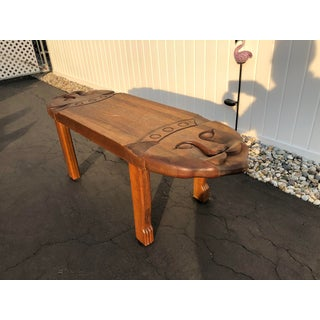 1970s Vintage Indonesian Carved Cat Wood Bench Preview