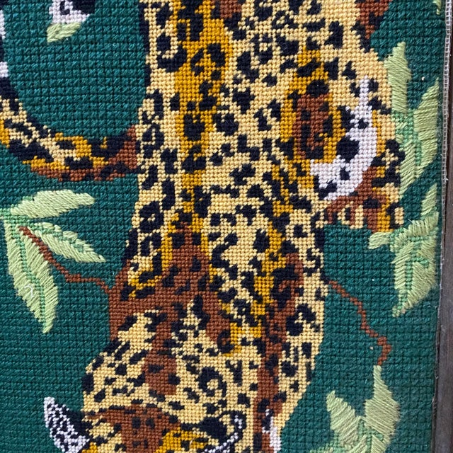 Mid-Century Modern 1970's Vintage Mid-Century Modern Cross Stitched Leopard Art For Sale - Image 3 of 10