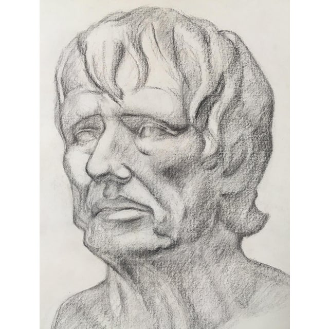 This is an Academy style charcoal on paper study of a classical bust, signed and dated by the artist 1951.