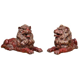 Fiance Glazed Recumbent Lions - a Pair For Sale