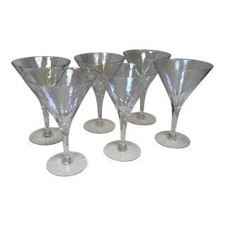 Vintage Iridescent Clear Stemmed Glasses - Set of 6 For Sale