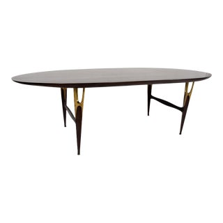 Mexican Modernist Sculptural Oval Dining Table Mahogany & Bronze Attr Escudero For Sale