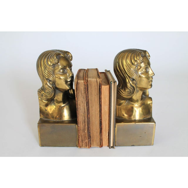 Female Brass Bookends For Sale - Image 9 of 11