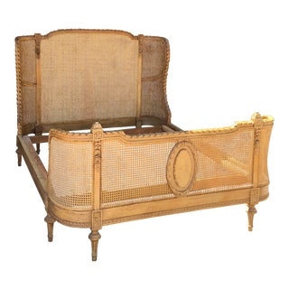 Victorian Wood & Cane Bed Frame For Sale