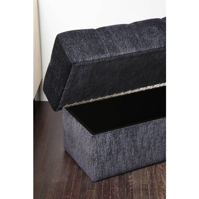 Custom Tufted Bench with Interior Storage For Sale In New York - Image 6 of 7