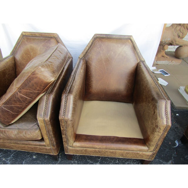 1980s Vintage Italian Leather Accent Chairs - A Pair For Sale - Image 4 of 6