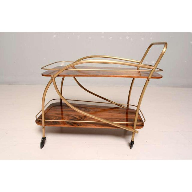 Brazilian Rosewood Double Deck Service Cart For Sale In San Diego - Image 6 of 10