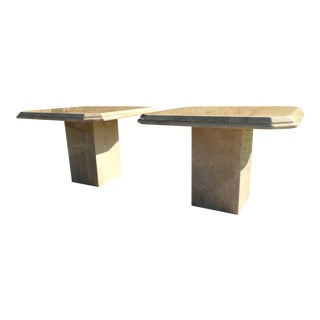 Italian Travertine Square Cut Corner End Tables - a Pair For Sale