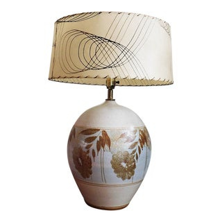 1970s Large Floral Motif Stoneware Lamp For Sale