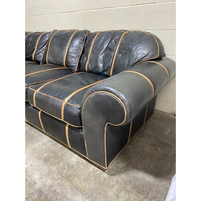 Michael Thomas Onyx Leather Sofa For Sale - Image 9 of 13