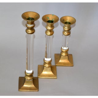 Mid-Century Modern Lucite & Brass Candle Holders or Candlesticks - Set of 3 Preview