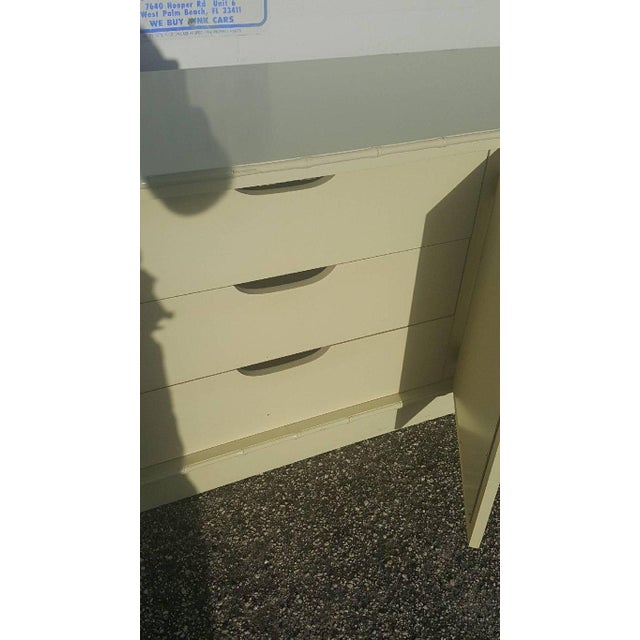 White Faux Bamboo Chinese Chippendale Credenza For Sale - Image 4 of 10