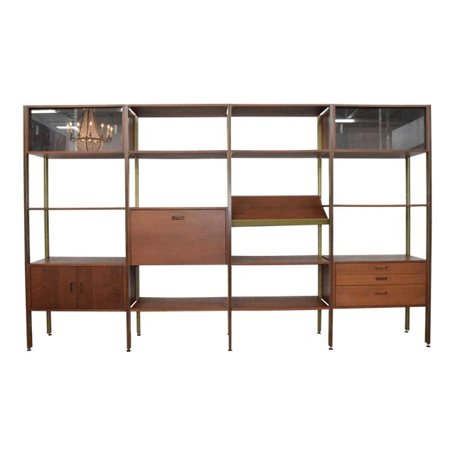 Large Four Bay George Nelson Walnut and Bronze Omni System For Sale