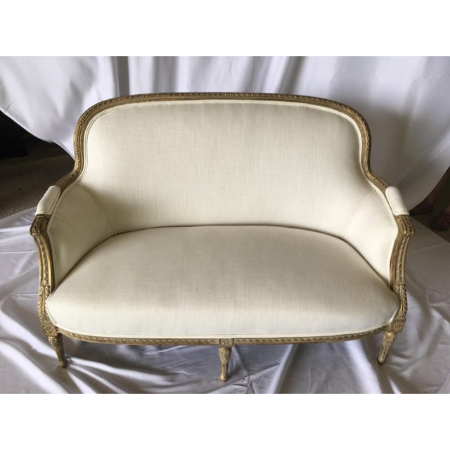 Vintage Gilt French Settee For Sale - Image 11 of 11