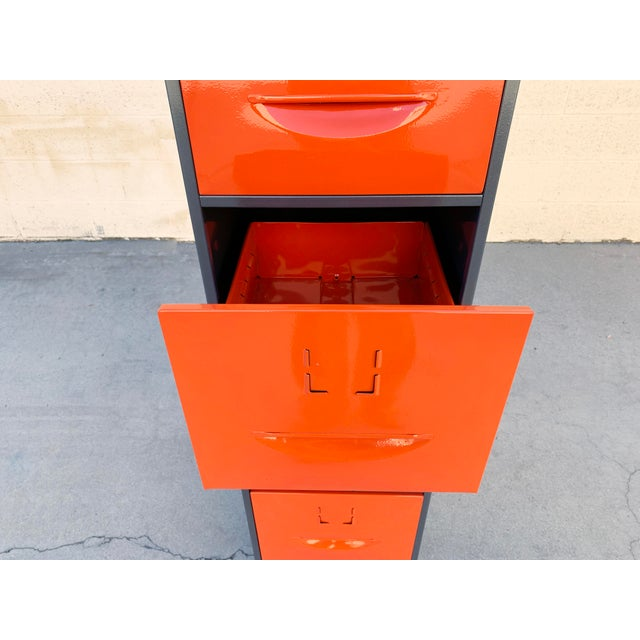 Industrial 1960s Steel File Cabinet With Pressed Handles, Refinished For Sale - Image 3 of 7