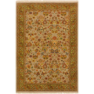 Istanbul Marcelle Lt. Gray/Green Turkish Hand-Knotted Rug -3'2 X 5'1 For Sale