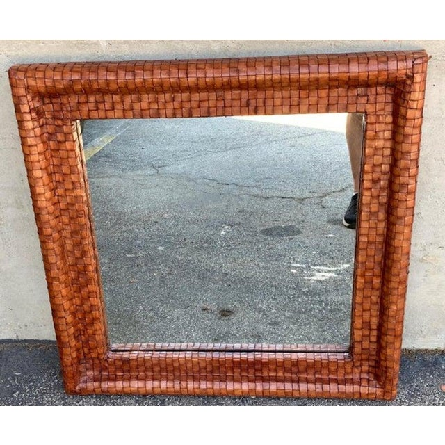 French Modern Woven Leather Mirror For Sale - Image 4 of 7